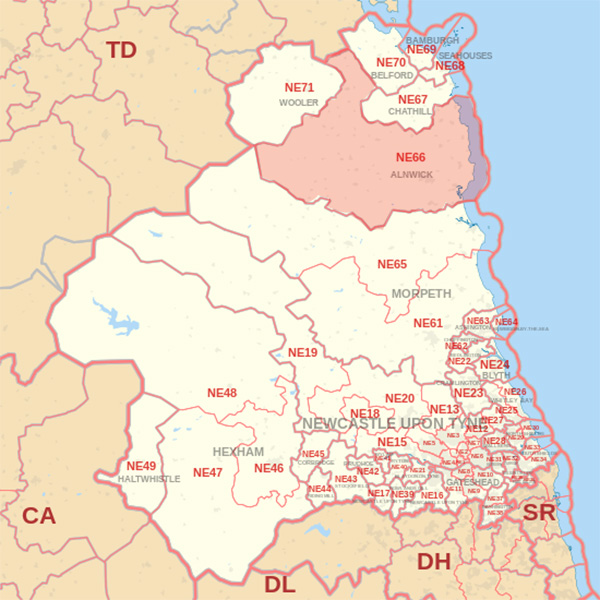 Map showing the NE66 Postcode area Covered By Wooler skip Hire