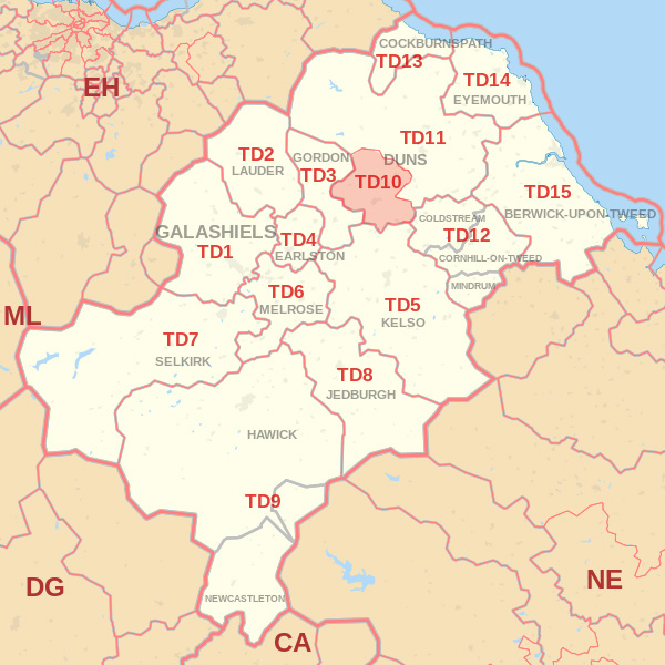 Map showing the TD10 Postcode area Covered By Wooler skip Hire