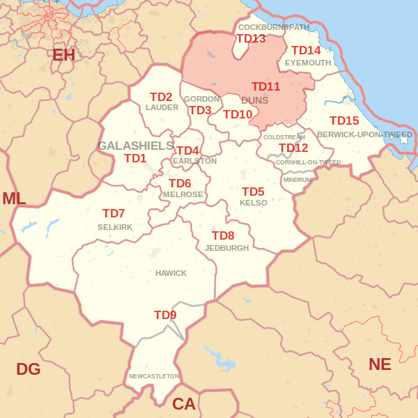 Map showing the TD11 Postcode area Covered By Wooler skip Hire