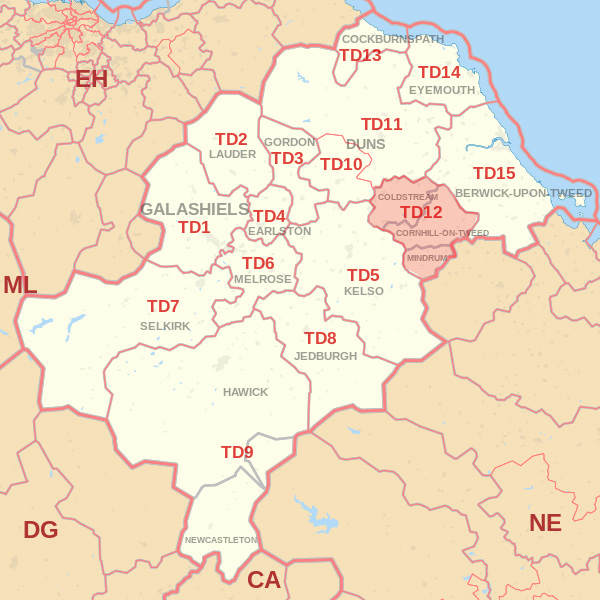 Map showing the TD12 Postcode area Covered By Wooler skip Hire