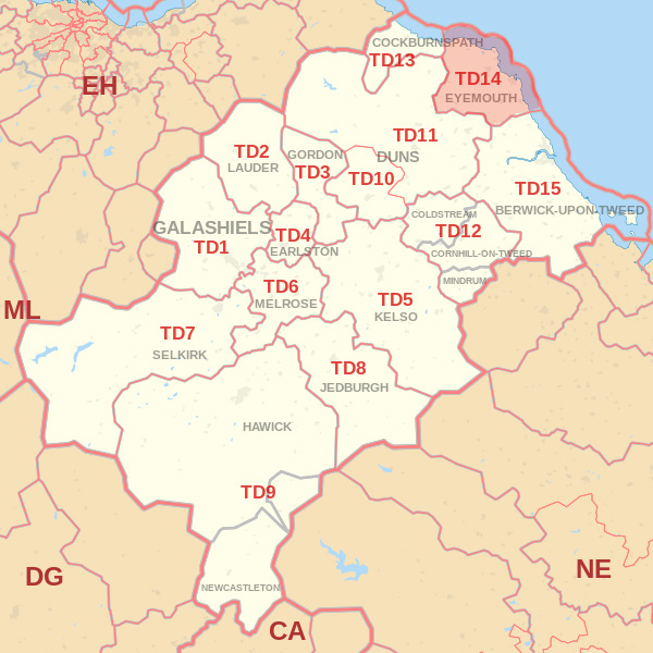 Map showing the TD14 Postcode area Covered By Wooler skip Hire