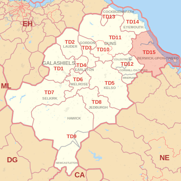 Map showing the TD15 Postcode Area Wooler skip Hire