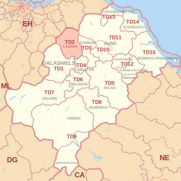 Map showing the TD2 Postcode area Covered By Wooler skip Hire