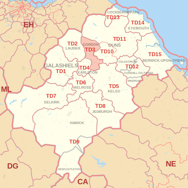 Map showing the TD3 Postcode area Covered By Wooler skip Hire