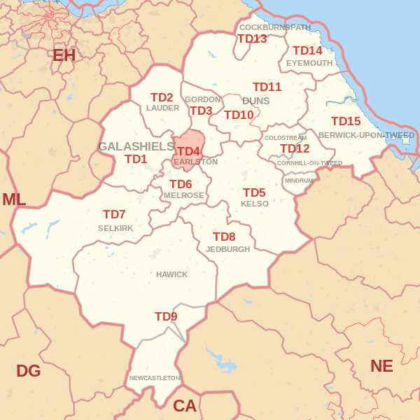 Map showing the TD4 Postcode area Cpvered By Wooler skip Hire