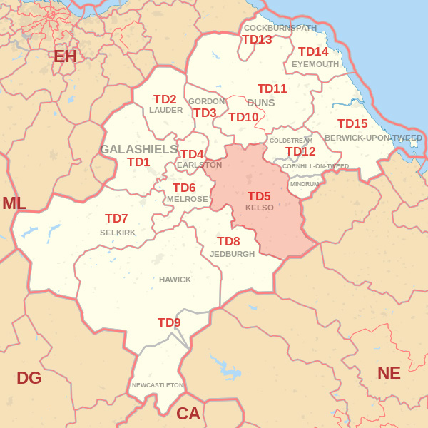 Map showing the TD5 Postcode area Covered By Wooler skip Hire