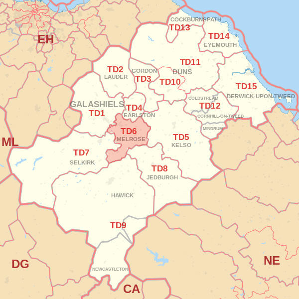Map showing the TD6 Postcode area Covered By Hawick skip Hire