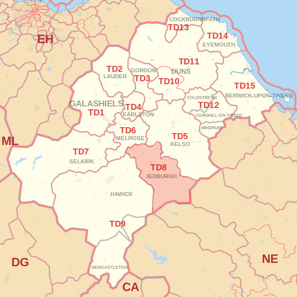 Map showing the TD8 Postcode area Covered By Wooler skip Hire