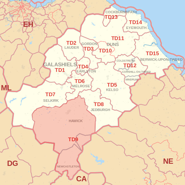 Map showing the TD9 Postcode area Covered By Wooler skip Hire